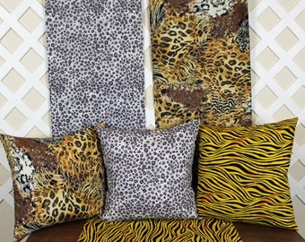 Pillow Covers.  Pillow Case. Decorative Pillow. Throw Pillow.  Wild Animal Prints. Dress up your home in style.