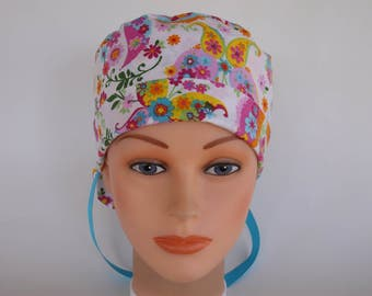 Fantasy Flight Ponytail - Womens lined surgical scrub cap - scrub hat, Nurse surgical hat, 164+100w