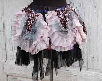 Skirt,tutu , Marie Antoinette, circus, carnival,fluffy skirt, layers , frills, let them eat cake, drama, pink,black, tatter punk, wild print
