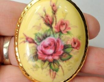SALE, Vintage, Hand Painted Porcelain, Gold Rim, Pink Roses, Flower Cameo Brooch, Origional Painting, Art Brooch, Real 18k Gold Border, OOAK
