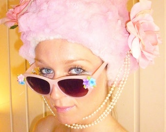Pink Wig With Pearls and Roses