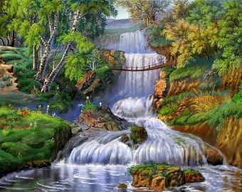 Instant Download Counted Cross Stitch Chart PDF Pattern N53ld - Waterfall