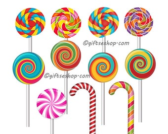 Sweets Clipart- Candy Cane Clipart- Lollipop Clipart - Pictures of Sweets