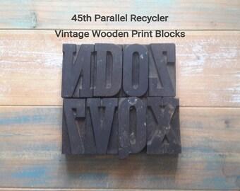 Large Wooden Alphabet Print  Press Antique