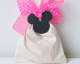 MINNIE MOUSE, pink polka dot party favour bag, pink and white polka dot ribbon, minnie mouse favour bag, lolly bag