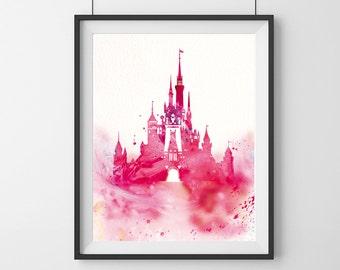 Watercolor Disney Castle Art Print - Pink - Disney Castle art print - Nursery decor