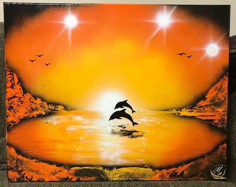 Dolphins - Spray Paint Art