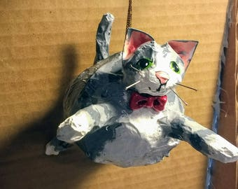 Paper mache Fat Cat- Grey Tabby Cat with Red Bow tie