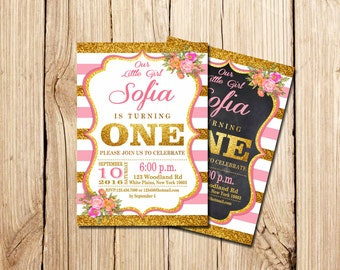 Pink and Gold First Birthday Invitation, First Birthday, Pink Invitation, Gold Invitation, girls 1st birthday invite, white, chalkboard