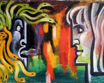 Expressionist art. Original painting. Oil painted on canvas. 66 x 39 cm.