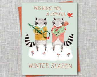 Festive Raccoons Printable Holiday Notecard Instant Download