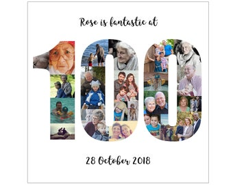 Personalised 100th Birthday Photo Collage Digital File