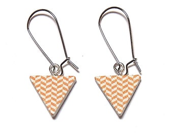 Geometric Triangle Earrings - Yellow & White, Triangle Earrings, Geometric Earrings, Wooden Earrings, Painted Earrings, Retro Triangle Drops