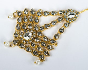 Pearls Jhumar passa jhoomar head piece Kundan jewellery hair pin side maang tikka for women