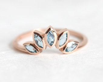Natural Zircon Ring, Blue Zircon Ring, Curved Wedding Band, Curved Wedding Ring, Blue Wedding Ring, Rose Gold Wedding Ring, 14k 18k