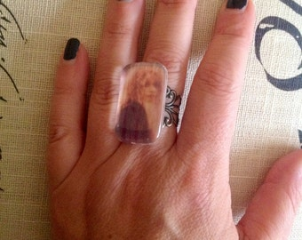 DREAMER, Stevie Nicks, Photo ring, statement ring, custom personalized, gypsy, boho, magic, goddess, Rhiannon, poet, music jewelry
