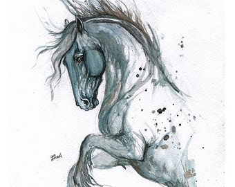 Horse portrait, tattoo design, equine art, equestrian, Framed original watercolour painting