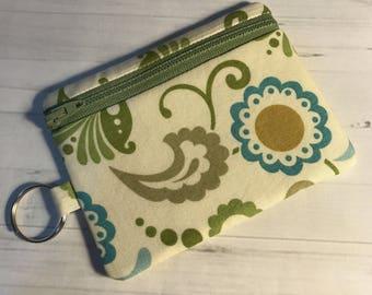 Zipper Coin Card Holder Mini Wallet Pouch Blue Green Floral