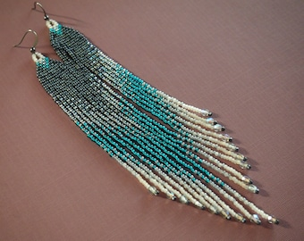 teal smoke long statement shoulder duster ombre seed bead fringe earrings! asymmetrical fringe earrings tipped with Firepolish sparkle
