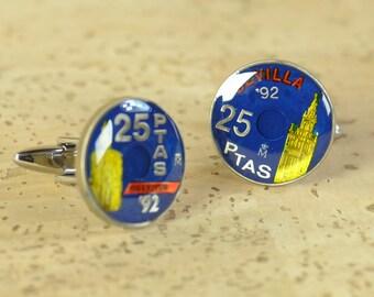 Seville 25 Pesetas Cufflinks coins