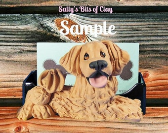 Golden Retriever Dog Business Card Holder / Iphone / Cell phone / Post it Notes OOAK sculpture by Sally's Bits of Clay