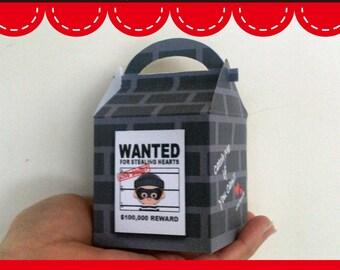 Printable Digital PDF File - Treat Box Gift Box Valentine's Day Valentine Love Bandit Baby Boy Girl 1