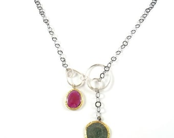 Original Roman coin and natural rose cut pink Sapphire set in solid 22k yellow gold on sterling silver knots and silver chain.