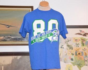 Vintage 1989 Seattle Seahawks Steve Largent End of An Era Shirt!!!  80s NFL Football Tee!!!