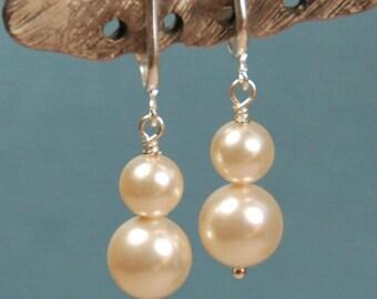 Clip On Pearl Earring, Ivory Double Pearl Earring, Swarovski Elements Clipon Earring, Bridal Earrings, Bridesmaid Earring, Dangle Earring