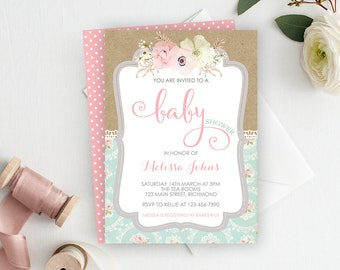 Shabby Chic Baby Shower Invitation, Girl Baby Shower Invitation, Printable Invitation, Vintage Invitation, Shabby Chic Invitation, Lace