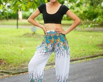 Flower Print Thai Flower Aladdin Pants, Aztec Ethnic Print , Boho Strenchy Pants, Elastic Waist Clothing Beach Women Baggy Casual F001