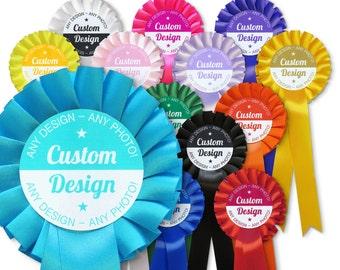 Personalised Custom Design Rosette - Multiple Rosette Colour Options