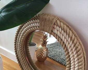 Handmade Hampton Style Round Rope Mirror Nautical Home Decor 41cm