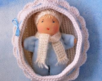 Waldorf inspired rag blue baby doll in a crochet crib Steiner doll Baby dolls in cribs Eco Doll Waldorf Pocket doll Waldorf toys Cuddle doll