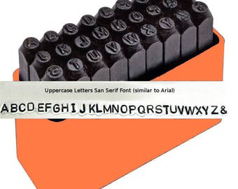 ARIAL UPPERCASE 1/16 inch 1.5mm Alphabet Letter Sans Serif Font Steel Metal Stamp Set for Jewelry Making Upper Case Hand Stamping Tools