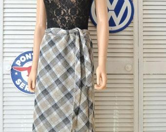 Vintage Womens Mod Maxi Skirt 60s 70s Black Tan Gray Silver Metallic Thread Elastic Waist matching belt Party Holiday XL Lady Caper Mates