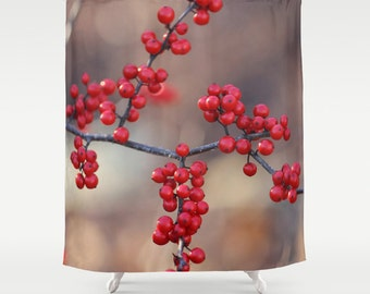 Berry Sparkles Shower Curtain Brown Red Elegant Bath Bathroom