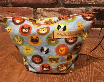 woodland creatures makeup bag, cosmetic pouch, toiletry bag, handmade