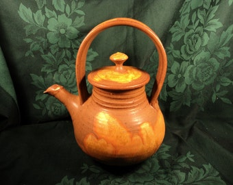 Stoneware Hand Thrown Teapot, Wagner Village Pottery, Rustic Country Primitive Decor