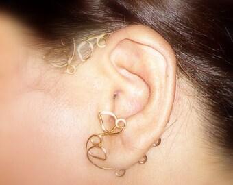 Ear Cuff, Gold Plate, Vine Jewelry, ear jewelry, ear climber, ear wrap, ear jacket, silver plate, non pierced