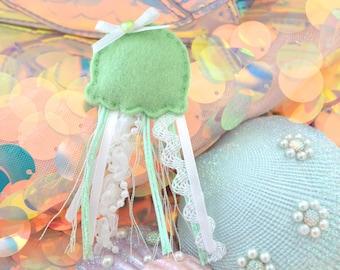 Green Jellyfish Plush Pin