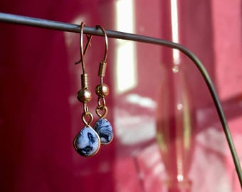 Dainty polymer clay marble dangle earrings