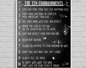 Ten Commandments for Kids, 11x14 - Instant Download