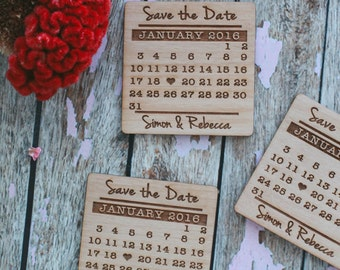 Save the Date, Save the Date Calendar Invitation, Wood Magnet Invitation, Wedding Favor, Wedding Invitation