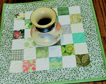 Quilted Patchwork Table Topper, Scrappy mini quilt, Candle Mat,  green, white, cream, Spring home decor, fabric lamp table topper