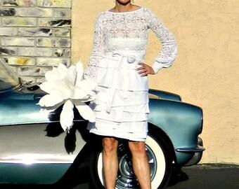 Lace Wedding Top-Bridal Top-Wedding Top-Bridal Separates-Bride Clothes-Crochet Lace Le Cannes Top-Chic Modern Bride Clothes-Hand Couture
