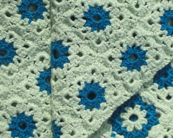 blue and green crochetted grannies, carpett