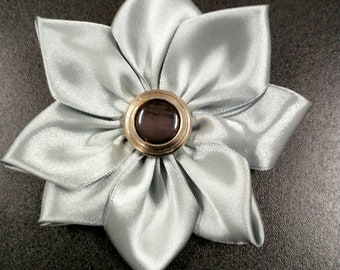 Light grey satin flower brooch
