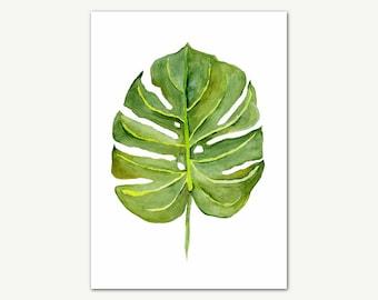 Leaf Watercolor Print, Tropical Print, Green Leaf Wall Art, Leaf Print, Printable Art, Botanical Art, Wall Decor
