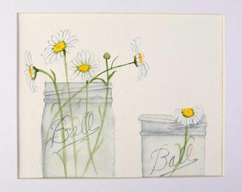 Original Watercolor Ball Jars with Daisies